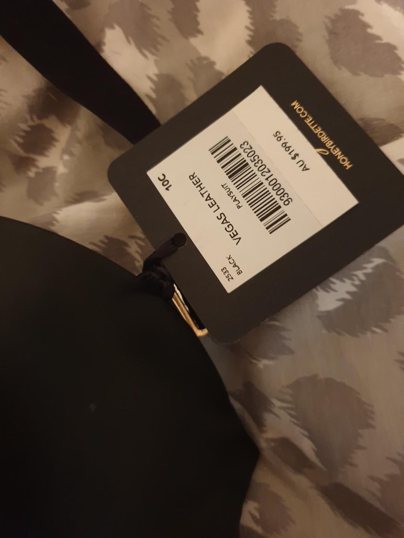 NEW honey Birdette leather like bodysuit