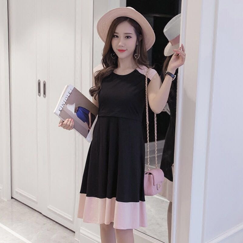 68b2a62896 Nursing dress korean black pink short long dress maternity modest  conservative pretty breastfeeding dress