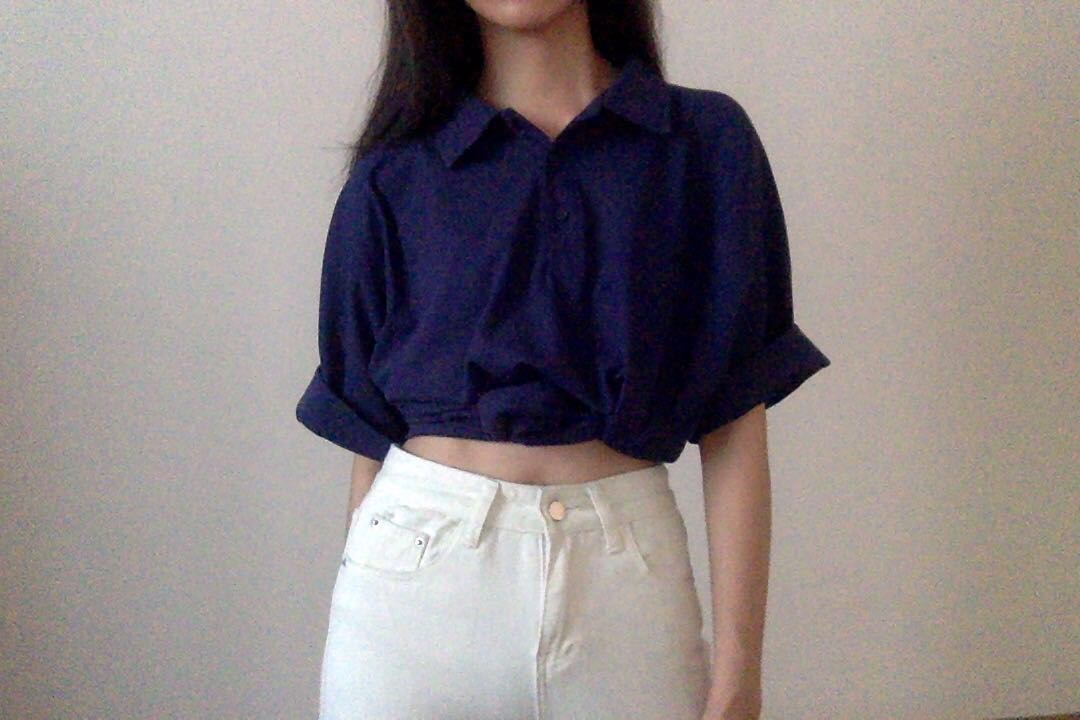 8d7f22a4 oversized thrifted blue polo shirt, Women's Fashion, Clothes, Tops ...