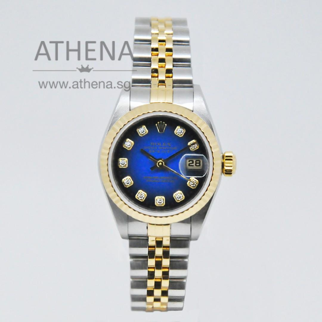 "ROLEX LADIES OYSTER PERPETUAL DATEJUST ""Y"" SERIES ""TWO TONE DIAMOND DIAL"" WITH BOX & CERT 79173 (LOCAL AD) WLWRL_1117"