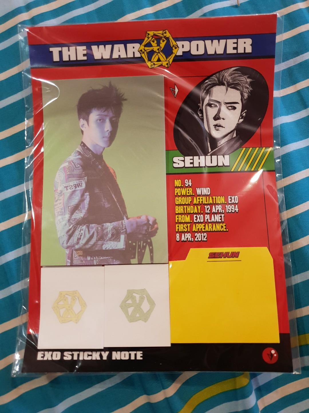 EXO Official Merchandise-Sehun Power Notepad &Sticky Note