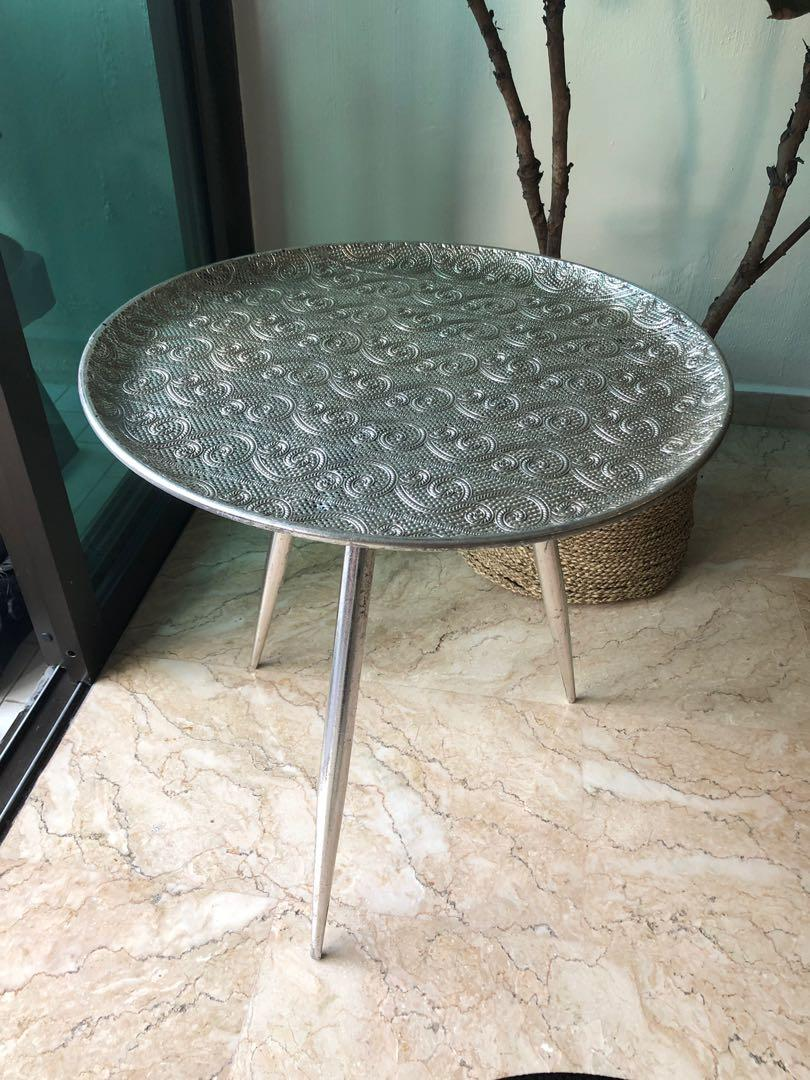 Silver Moroccan Style Side Table Furniture Tables Chairs
