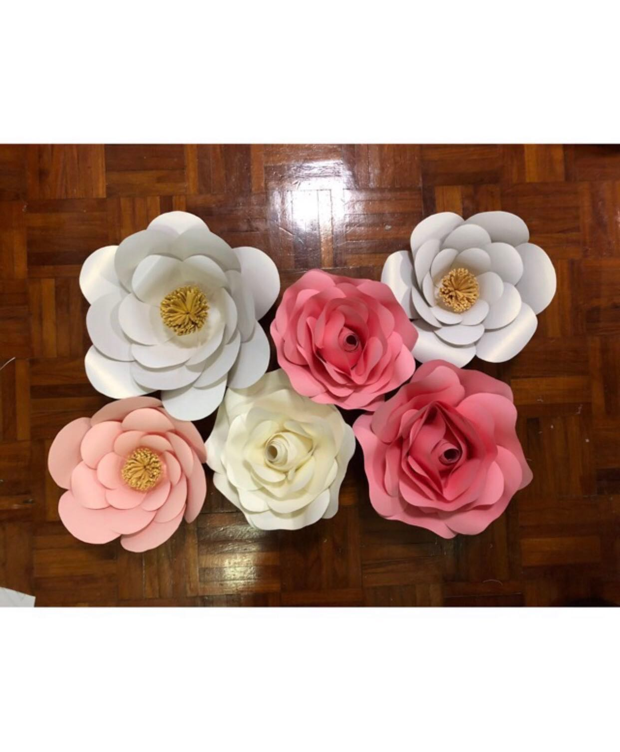 Sold Pink White Paper Flowers Backdrop Decor
