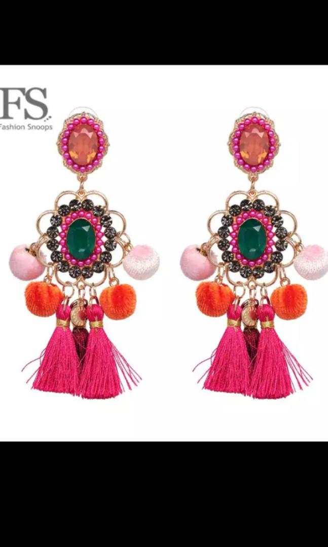 trendy tassel/rattan/beaded earrings