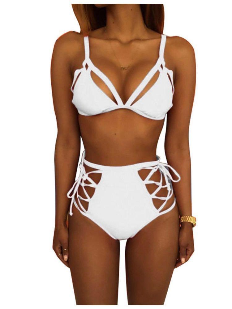 Womens High-Waisted White Bikini