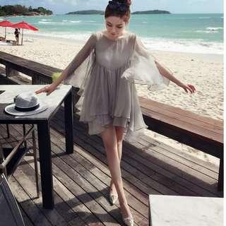 🚚 【週末女孩】氣質飄逸雪紡兩件式洋裝 甜美藏肚夢幻飄逸洋裝 度假風飄逸雪紡洋裝灰色雪紡洋裝 兩件套洋裝TZ166