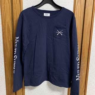 🚚 韓式休閒 藍色圓領長䄂T恤