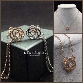 18k rose gold plated rose necklace 鍍玫瑰金玫瑰頸鏈