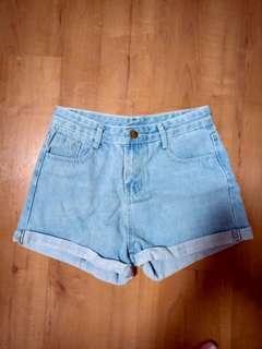 brand new light blue denim shorts