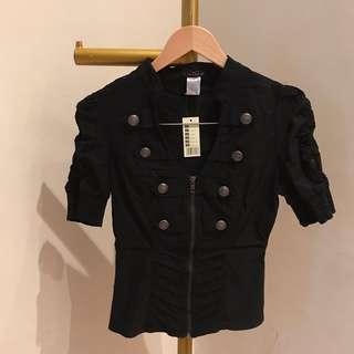 Sailor black button top