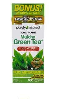 Purely Inspired, Matcha Green Tea+, 100 Tablets