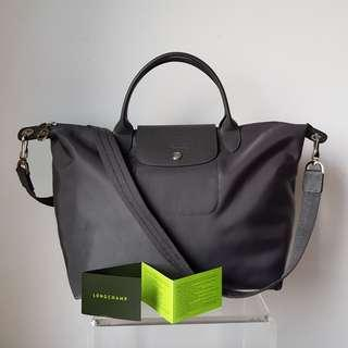 (Purchased in Paris) BN LONGCHAMP Neo 2-Way Bag 1515 (Medium) with Removable Strap - Dark Grey