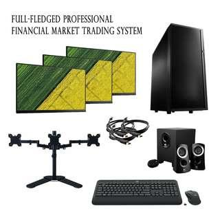 Financial Trading Forex or Stock and Shares workstation Triple Monitor Setup