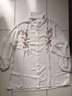 White Red Flower Shirt