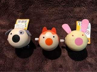 全新木制上鍊動物造型圓面公仔 跳跳 橙耳貓 灰耳狗 粉紅耳兔