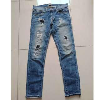 W31 NET 窄管破壞牛仔褲 黑/藍色