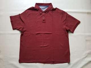 Kaos berkerah pria merah bata Mark & Spencer original sz XXL