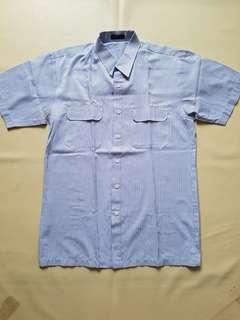 Kemeja pria biru putih garis2 Lengan pendek sz XL