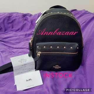 INSTOCK SPECIAL OFFER! Coach Mini Charlie Rucksack Rivet Stud Backpack (100% Authentic)