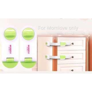 🚚 Ready Stock! Ready Stock ! Brand New Baby Safety First - Multipurpose Cabinet Drawer Locker Lock Green/Grey (2pcs - 1 short + 1 long)