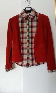 Plad blouse with cardigan