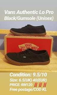 Vans Authentic Black Gumsole