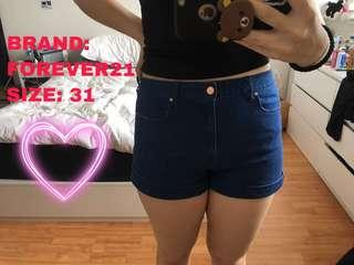 BLUE DENIM SHORTS BY FOREVER 21