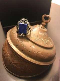 🚚 異國風鏤空設計🌹寶藍色方形半寶石純銀戒 #半價衣服市集 #半價良品市集