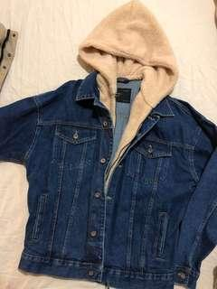 Brand new zara denim jacket with fur hood