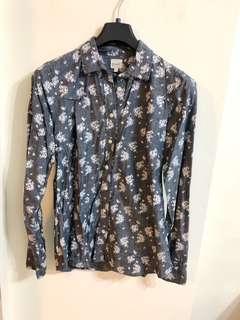 🚚 美國【J.CREW】灰色印花棉麻襯衫XS