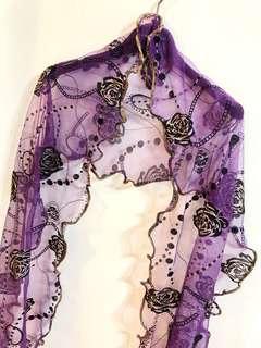 🚚 紫色雪紡印花圖騰圍巾