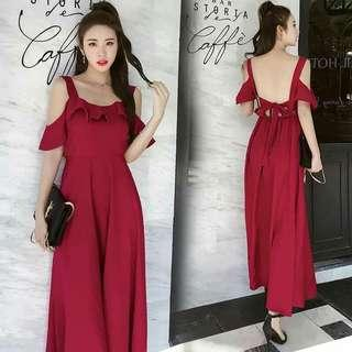 Sexy Back Maxi Red Dress (Pre order)