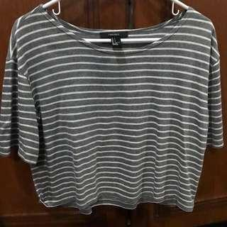 Forever 21 gray and white striped crop top