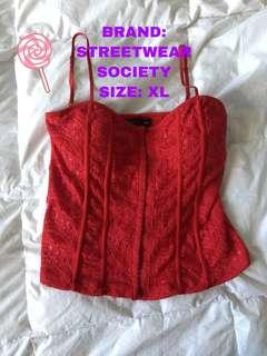 STREETWEAR SOCIETY RED CORSET TOP LINGERIE