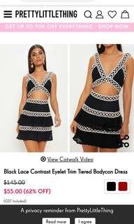 Lace contrast bodycon dress brand new with tags current stock