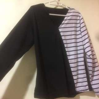 half white black top