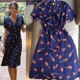 Printed Overlap Wrap Dress