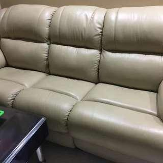 Genuine leather sofa with recliner