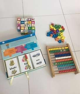 Bundle Sale - Children Puzzle Cards Set , Wooden Alphabet Puzzle , Large Wooden Abacus & Alphabet Blocks
