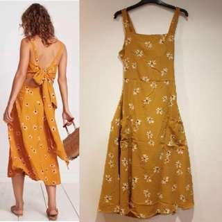 Mustard Tie Sexy Back Dress