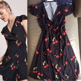 Cherry Overlap Wrap Dress