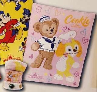 全新 香港迪士尼 Duffy & Cookies 冷氣被 毯