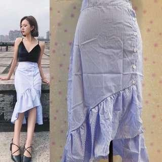 Ruffles Stripes Skirt with Buttons