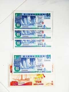 Ship  Series  $1 / $10 - Fancy Nos ( UNC )