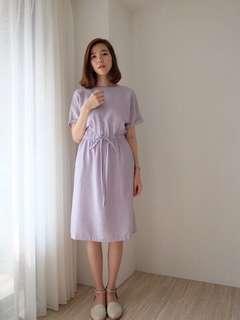 轉eggie 顯白粉紫抽繩洋裝#半價衣服市集。