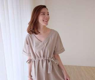 轉eggie 小綁帶清新短洋裝。奶茶杏。二手。#半價衣服市集