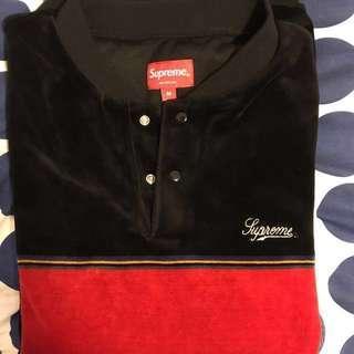 🚚 Supreme Velour Snap Henley Black Size M