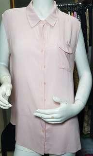 Peacocks soft baby pink buttons top