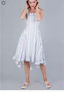 Lea ruffles hem dress -  blue and white stripes