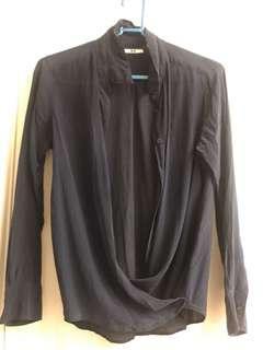 🚚 Uniqlo】絲質襯衫2式穿法 / 深藍色 #半價衣服市集